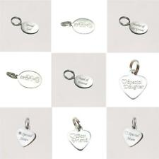 Sterling Silver Engraved Charms, Tiny Jewellery Tags for Mum,Sister,Daughter etc