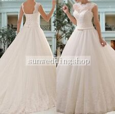 Custom Made White / Ivory Lace Wedding Dress Bridal Gown All Size 8 10 12 14++