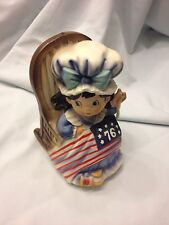 "VINTAGE CERAMIC STYLE MUSIC BOX BESTY ROSS SEWING  FLAG, ""YANKEE DOODLE DANDY"""