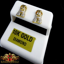 Geniune Diamond Real 10k Gold Epic Rapper Style Jesus Head Earring Studs .25 CTW