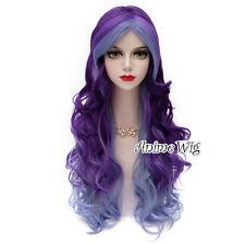 Harajuku Long Blue Mixed Purple 70CM Curly Fashion Cosplay Lolita Women Wig