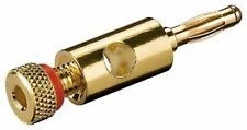 10x Banana plug with screw connection red gold-plated 4mm coloured ring red