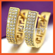 9CT GOLD GF PETITE CRYSTAL HOOP HUGGIES SLEEPER WOMENS GIRLS SOLID EARRINGS GIFT