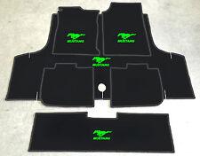 Autoteppich Fußmatten Kofferraum Set für Ford Mustang Cabrio neongrün 71-73 6tlg