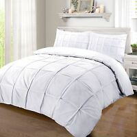 Hotel Quality 100% Egyptian Cotton 200 Thread Pleated Duvet Cover Bed Set White