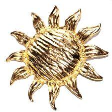 Grosse broche de couleur or soleil ou tournesol bijou brooch A1