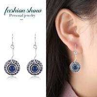 Vintage 925 Silver Blue Sapphire Dangle Drop Earrings Ear Hook Wedding Party
