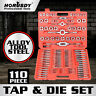 TAP AND DIE Set 110 piece METRIC w/Case Screw Extractor Remover Chasing NEW