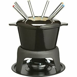 MasterClass Cast Iron Meat / Cheese / Chocolate Fondue Set, 21 x 18 cm - Black