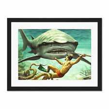 Painting Shark Attack Diver Spear Adventure Framed Wall Art Print 18X24 In