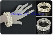Perlenarmband Armband Perlen 3 Reihige  Strass Armreifen Hochzeit  Brautschmuck