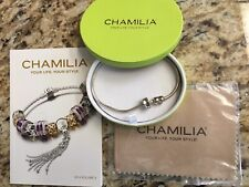 Chamilia Sterling Silver Oyster Clasp Snake 2 Charms Bracelet Marked CHAM 925