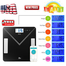 400lbs Bluetooth LCD Digital Smart Scale Body Weight Fat BMI Bone Analyzer APP
