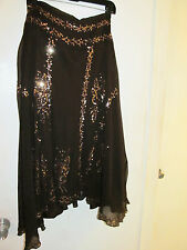 Brown Chiffon A line Skirt 28W 100% silk plus size Gold Bronze sequins NWT