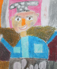 Abstract expressionist figure pastel drawing signed