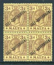 Colony George V (1910-1936) Maltese Stamp Blocks (Pre-1964)