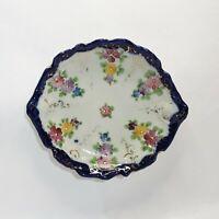 Vintage Porcelain Trinket Dish Plate Hand Painted Flowers Cobalt Border Gilt