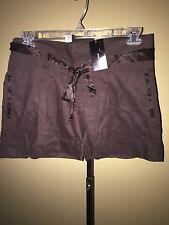 BCBG Max Azria Mahogany Brown Cuff Short With Wais Corduroy Cotton 8