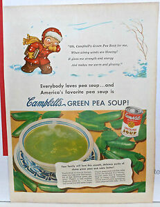 1951 magazine ad for Campbell's Green Pea Soup - Campbell kid in snowstorm