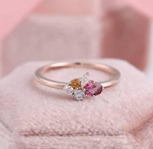 2.20 Ct Ruby/Citrine/Aquamarine/Diamond Engagement Ring In 14K Rose Gold Finish