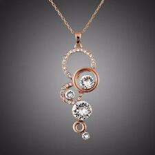 Rose Gold Plated Sparkle Round Clear Zircon Rhinestones Chain Necklace Pendant