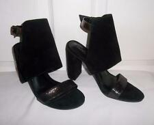 Kenneth Cole Reaction Black Suede Leather Block Heel Ankle Strap Sandals 7.5 M