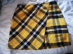 Yellow Tartan Check Thick Mini Skirt Size 10 George Clueless 90s