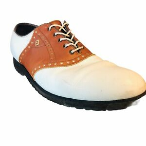 Vintage Footjoy Classics White Brown Spikeless Golf Shoes SZ 10B 55236 J7 Style