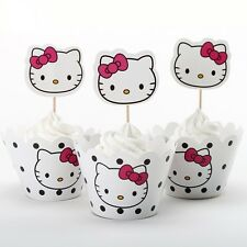 24pcs Hello Kitty Kids Birthday Party 12 Wrappers +12 Cupcake Cake Toppers Decor