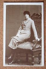 R&L Postcard: Vintage Photo of Edwardian+ Lady, Fashion/Clothes Antique Chair