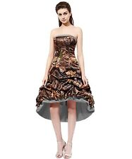 Camo High Low Prom Dress Formal Gown Mini Bridesmaids Dresses Homecoming Dresses