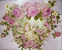 GORGEOUS SHABBY CHIC CHERUB Garland of Pink Roses CANVAS PRINT