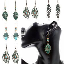 Women Green Leaf Drop Earrings Green 1Pair Boho Tassel Hanging Dangle Retro Leaf