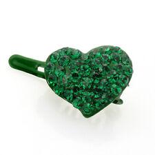 Hand Made Hair Jewelry Mini Heart shape Magnet Barrette, Teal Rhinestone