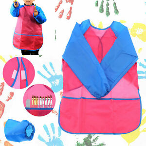 Toddler Kids Childs Waterproof Long Sleeve Painting Cooking Apron School Smock