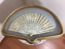 VICTORIAN HAND FAN CLOTH HANDPAINTED ARISTOCRAT LADY WITH BUTTERFLIES OPEN WORK