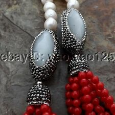 """K052104 42"""" White Pearl Red Coral Necklace"""