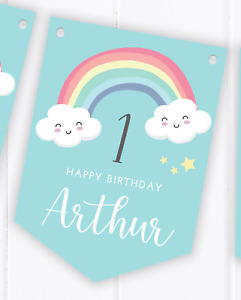 Personalised Rainbow Happy Birthday Bunting, Children's Party Decoration Banner