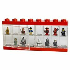 LEGO MINIFIGURE DISPLAY CASE LARGE (16 FIGURE) RED LEGO CHARACTER STORAGE NEW