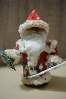Antique 1900 German DRESDEN Candy Container Christmas Tree Ornament Santa Claus