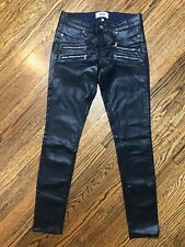 PAIGE Edgemont Ultra Skinny Coated Jeans in Navy Size 27