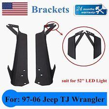 97-06 Jeep Wrangler TJ Upper Windshield LED Light Mounting Brackets 52inch 300w