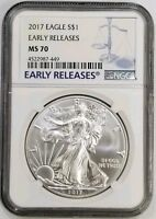 2017 Early Release  1 oz Silver American Eagle .999 NGC MS 70 Blue Label # 195