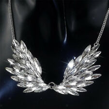 Fashion Large Rhinestone Angel Wing Pendant Statement Necklace Accessories