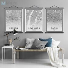 World City Map New York Framed Posters Nordic Living Room Canvas Painting Scroll