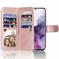 Samsung Galaxy S20, Women's Rose Gold Leather Kick-Stand Wallet Case Card Slot