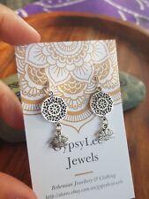 Mandala Lotus Flower Earrings Bohemian Gypsy Festival Hippie Yoga Life Ohm
