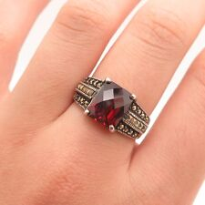 925 Sterling Silver Real Marcasite Gemstone Red C Z  Ring Size 8