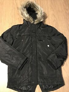 Boys Girls Black Hooded Parker Parka Style Coat Jacket Age 9-10 Years By George