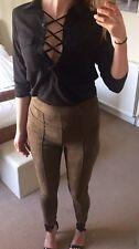 Black Lace Up Tie Low Plunge Oversize Shirt Blouse Size 12-14